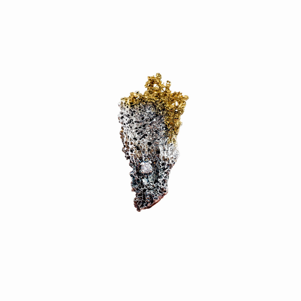 Graceful Inner Island Pin | Sterling silver, white diamond, gold vermeil, patina.