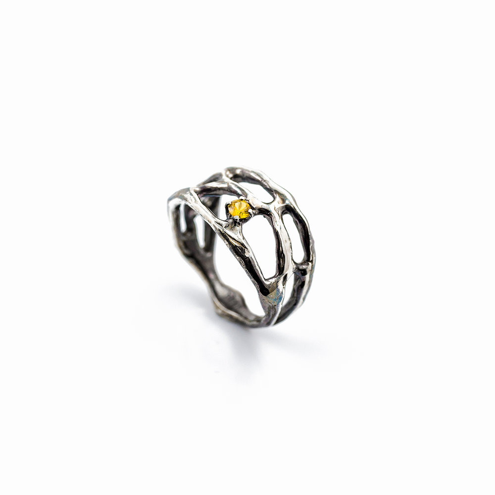 Cajal Ring | Sterling silver, yellow Australian sapphire.