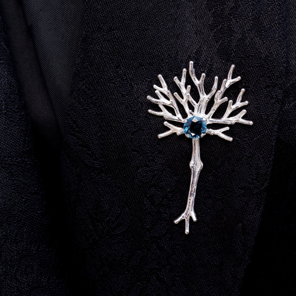 Neuron Pin | Sterling silver, topaz.