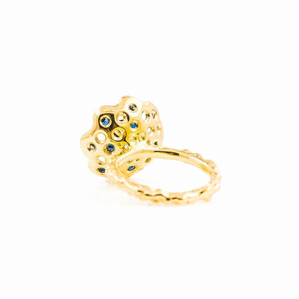 Beneath The Surface Ring | 18ct yellow gold, Australian sapphires, white diamond.