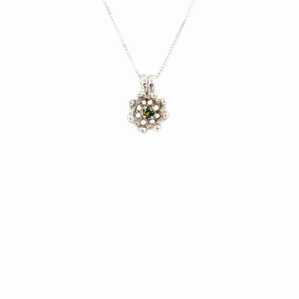 Cusp Pendant | Sterling silver, Australian sapphire.