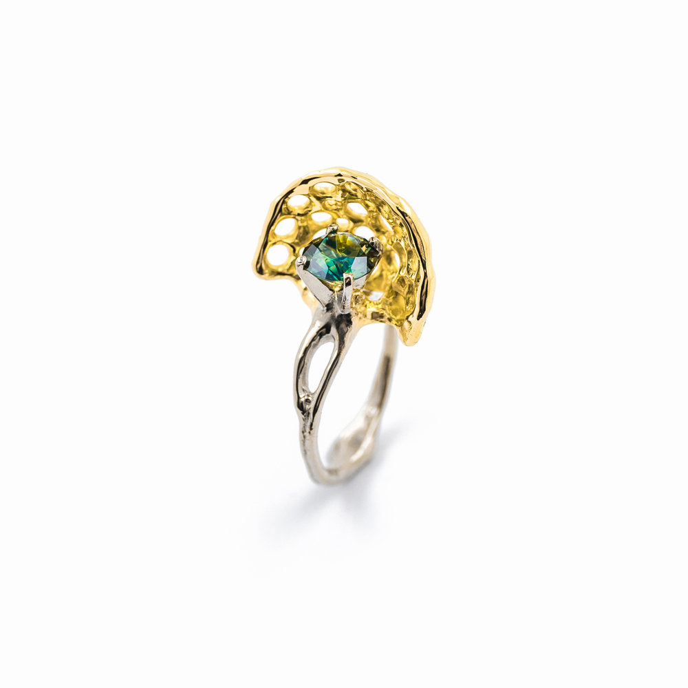 Veil Ring | White gold, yellow gold, australian sapphire.