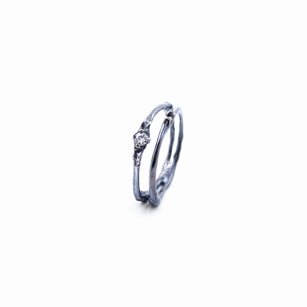 Towers Double Band | Sterling silver, sapphire.