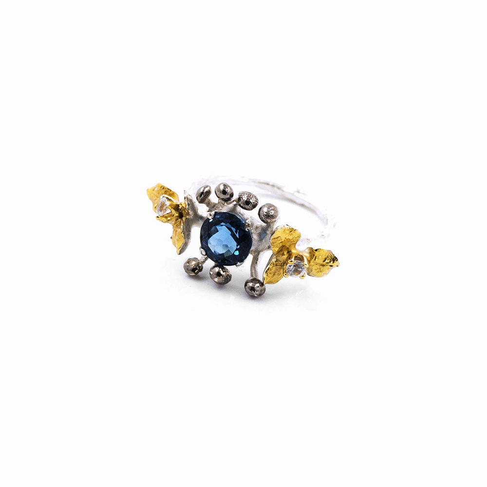 November Ring | Sterling silver, topaz, sapphires..