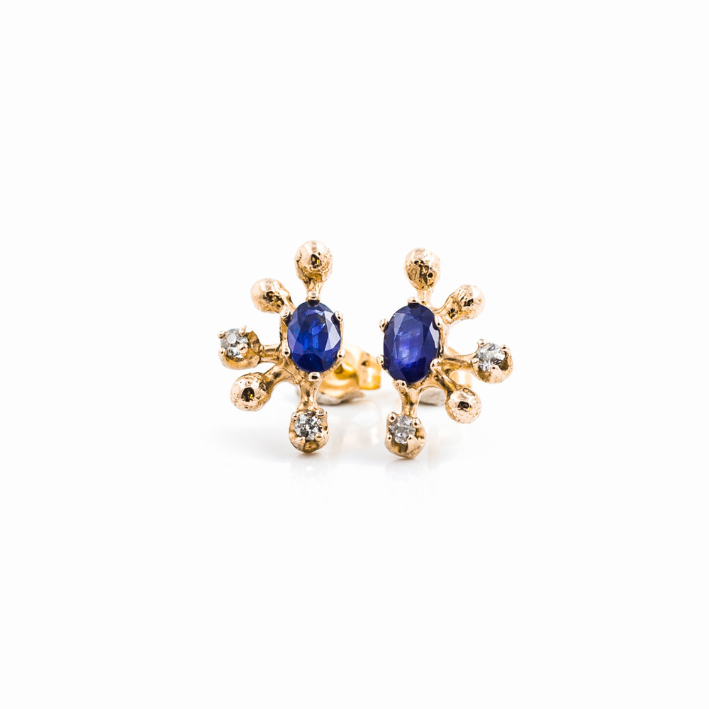 Efflorescence Earrings | 18ct rose gold, blue sapphire, white diamonds.