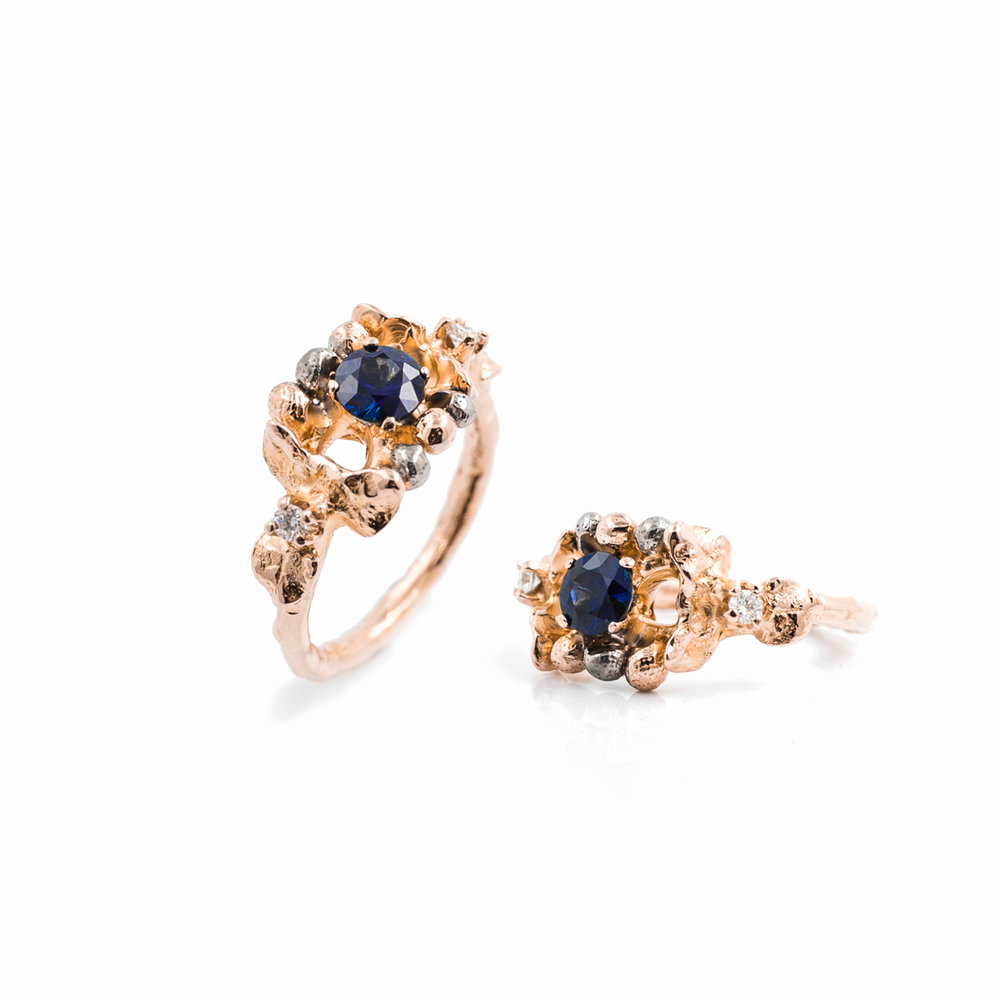 November Ring | 18ct rose gold, blue sapphire, white diamonds.