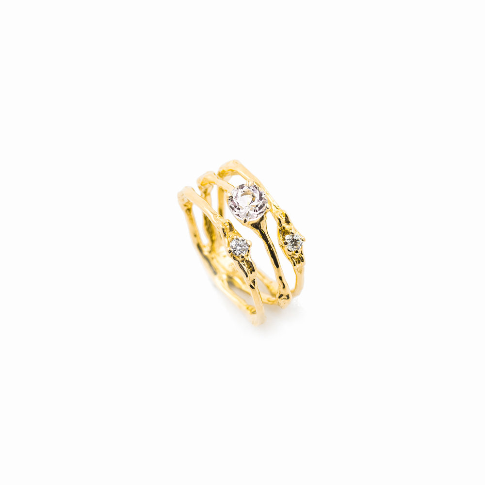 TOWERS TRIPLE BAND | 18ct yellow gold, morganite, white diamonds.
