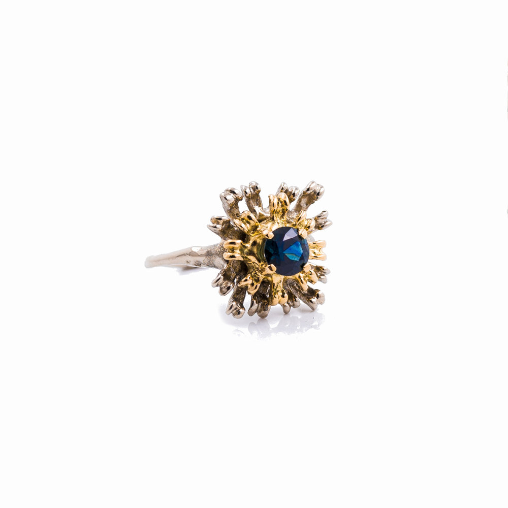 The Flowers Remaining Ring | Yellow gold, white gold, Australian sapphire.