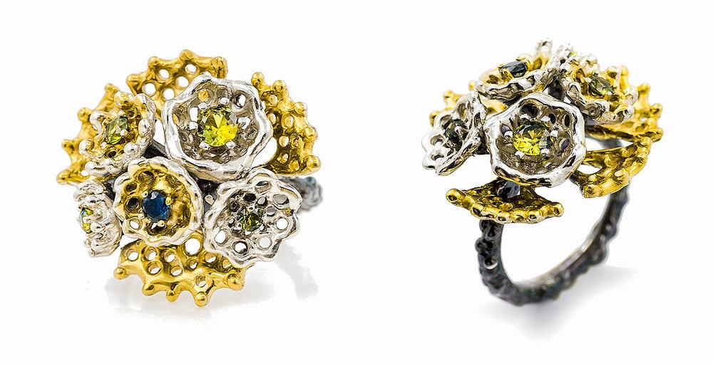Emerging ring | Sterling silver, Australian sapphires.