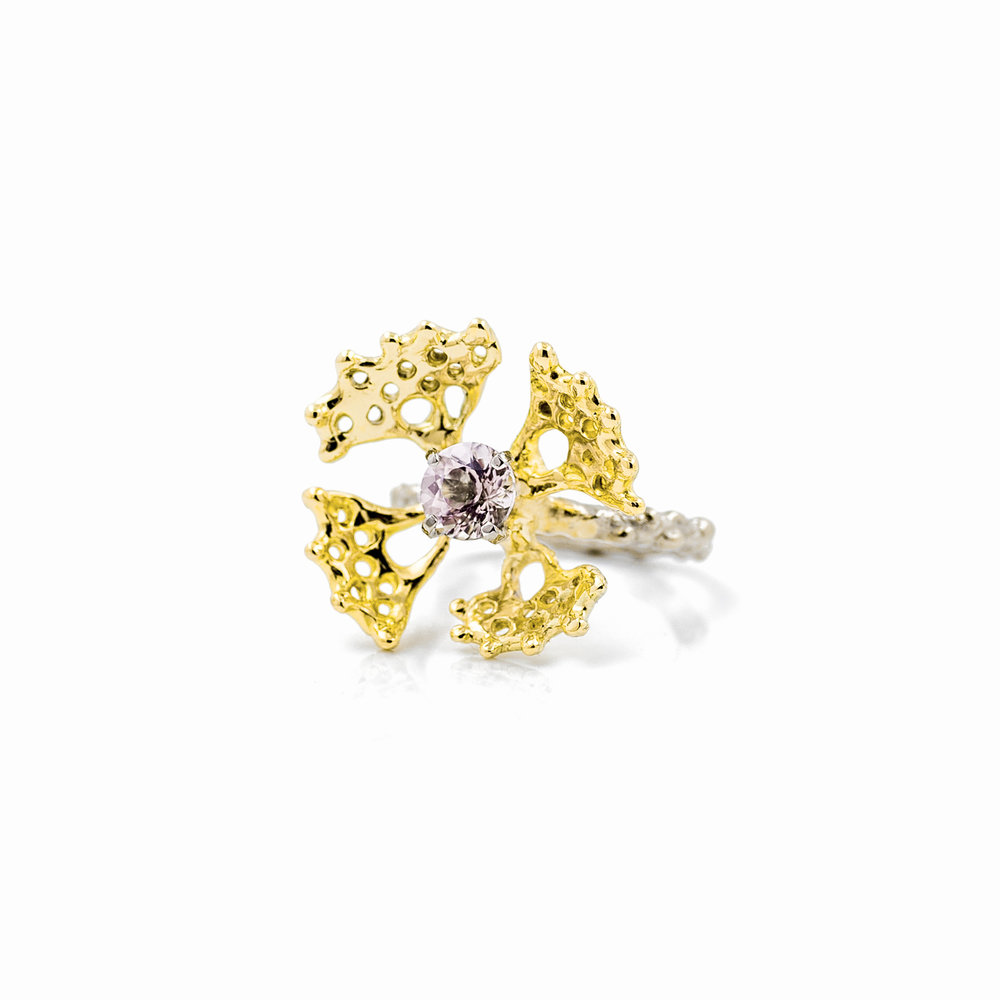 Fanned Ring II: Pairs of 14ct and 18ct yellow gold fans surround a beautiful morganite set into an 18ct white gold band. Created as a representation of microscopic cellular details and forms beneath the sea.