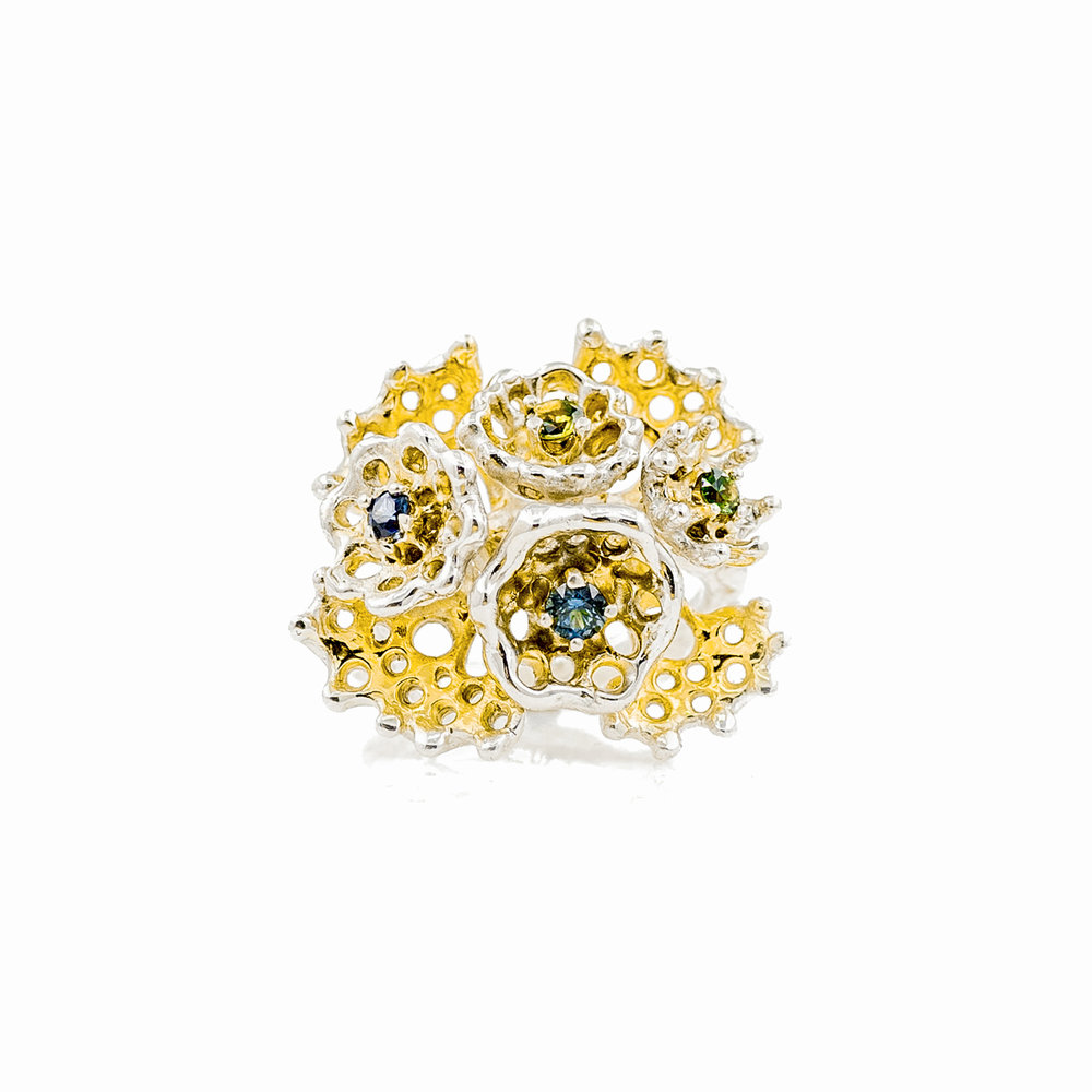 Emerging ring with four beautiful Australian parti sapphires