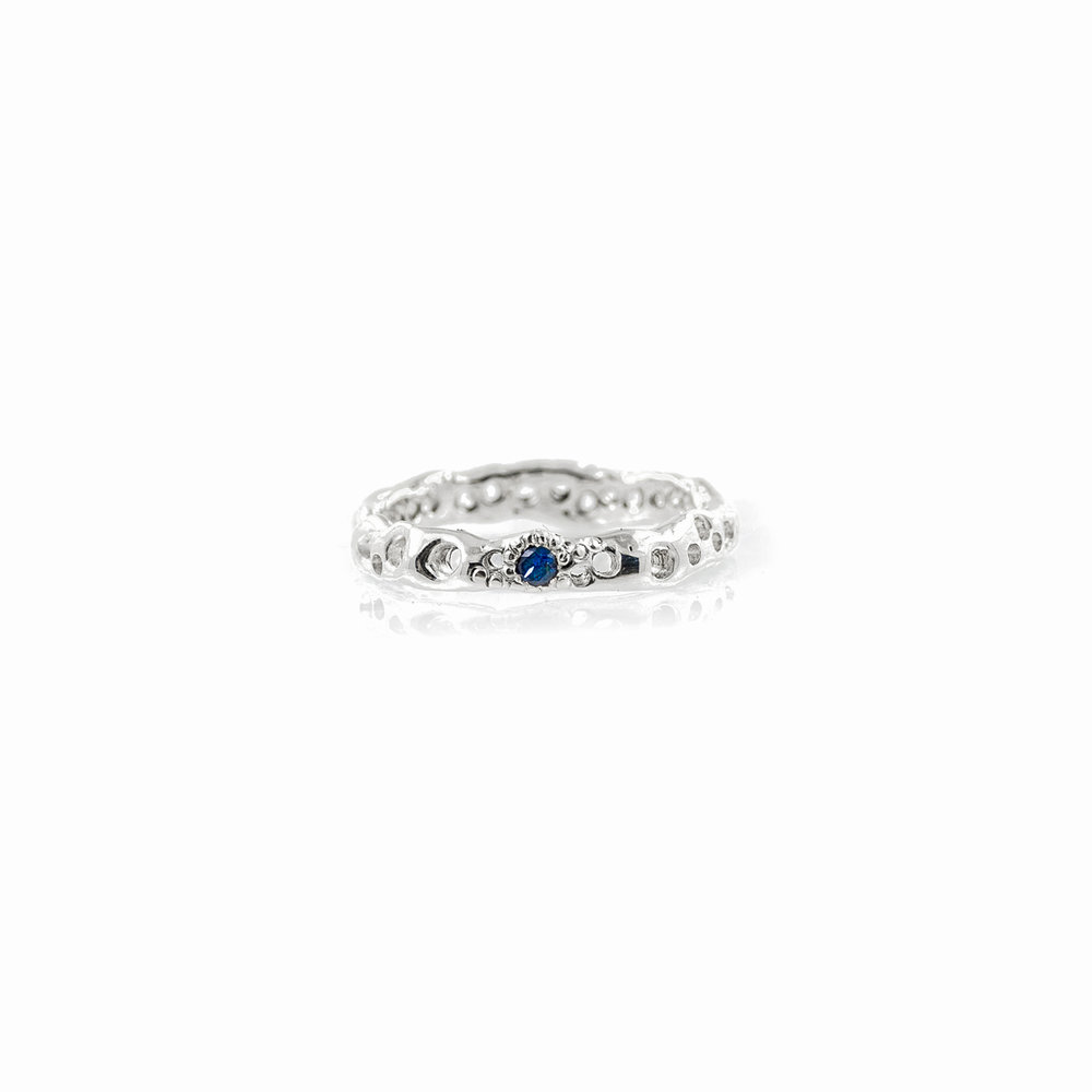 Sterling silver In-between band with Australian blue sapphires.