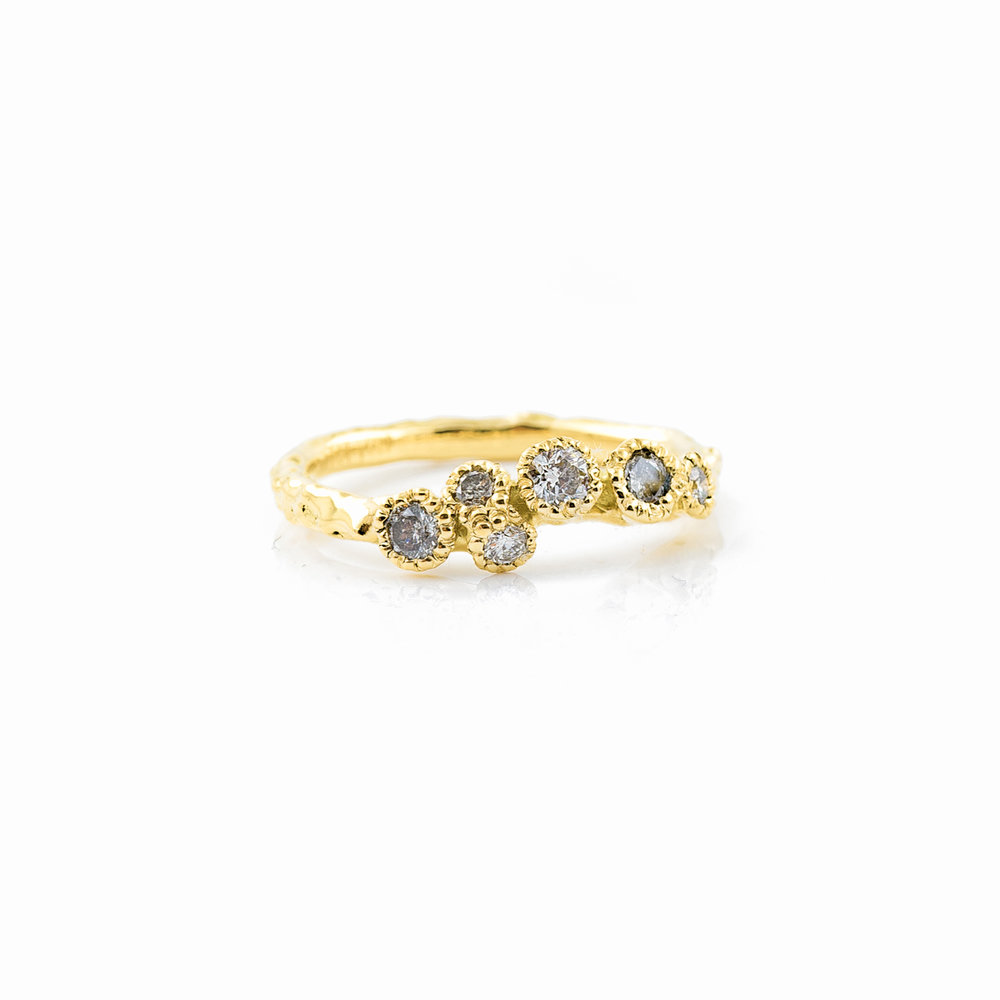 Surfacing Wedding Band | 18ct yellow gold, salt and pepper diamonds, white diamonds.
