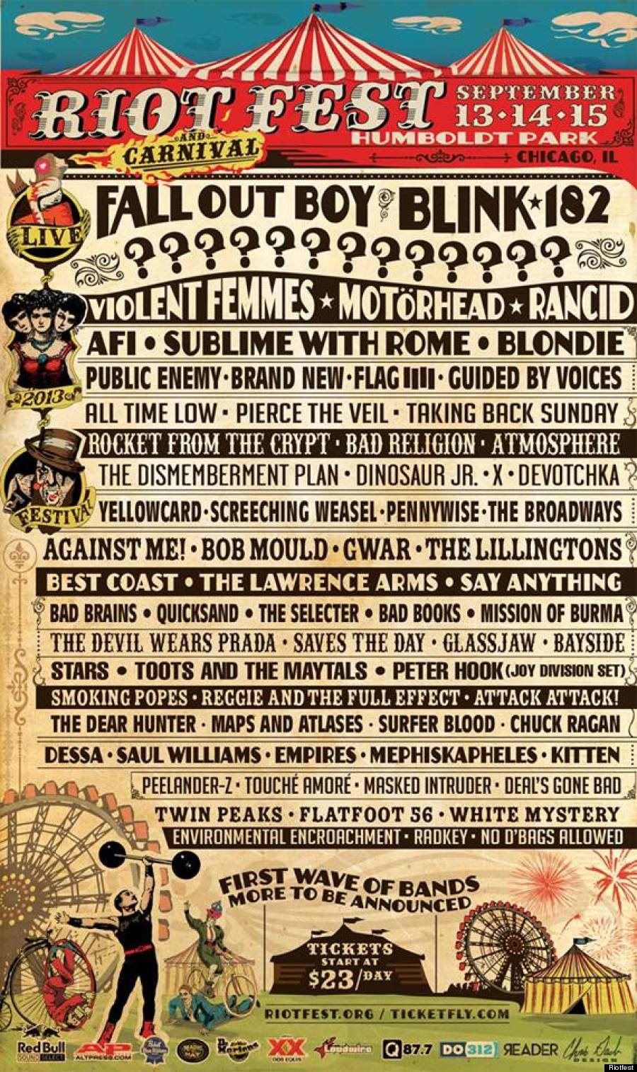 Riot Fest  (and Carnival)   Humboldt Park Chicago, IL   September 13, 14 & 15   More bands to be announced…Coming Soon!!