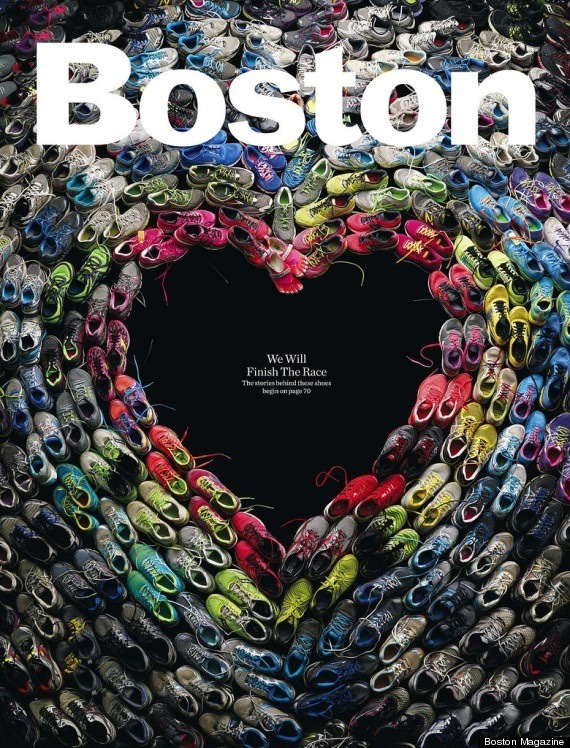 The May 2013 Issue of Boston Magazine   Collected the shoes, and stories, of the runners from the tragic Boston Marathon bombing.   A very fitting tribute.   ( X )