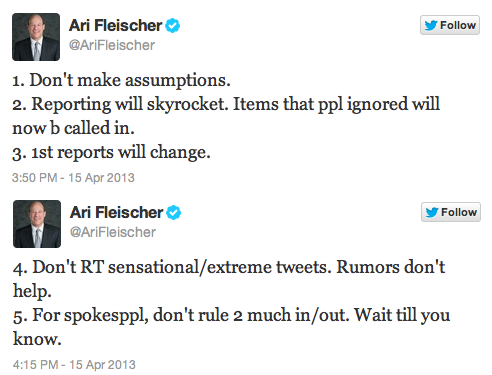 Ari Fleischer's Advice for Journalists on Twitter…Etiquette during a Crisis.   Poignant and True.
