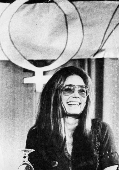 """""""A woman without a man is like a fish without a bicycle.""""          Truly no other woman like her.     Happy birthday to one of history's greatest feminists and political activists, Gloria Steinem."""