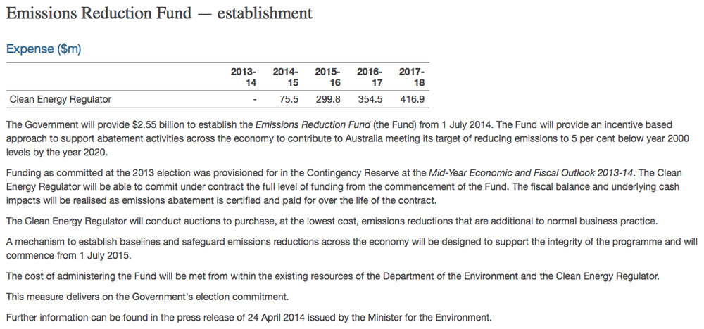 The Emissions Reduction Fund from Budget paper no 2