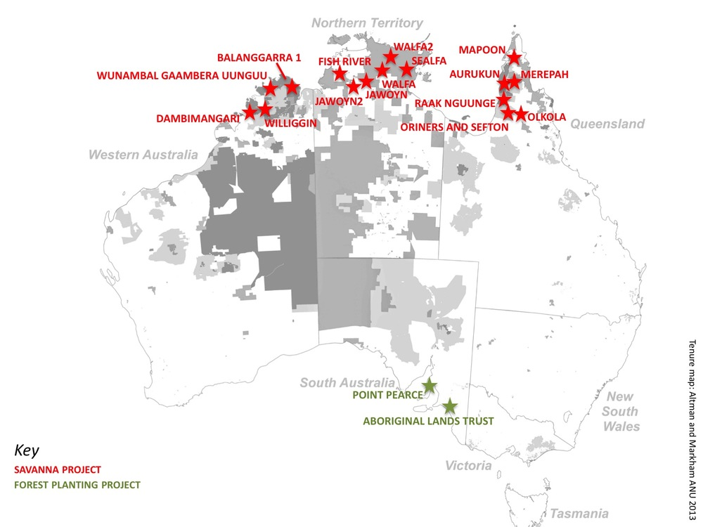 Map of Indigenous carbon projects under the Emissions Reduction Fund
