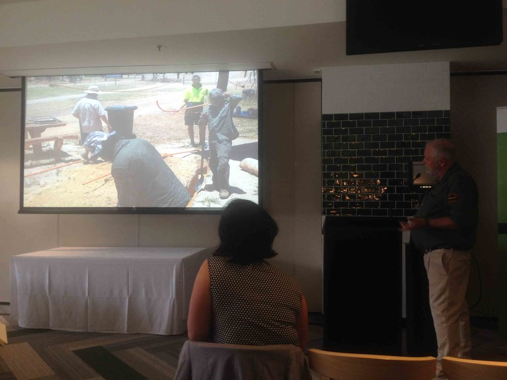 Chris Hannocks giving a powerful presentation on the Kowanyama savanna burning project