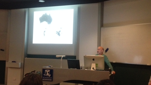 "Professor Jon Altman presents on ""From hunter-gatherers to carbon farmers in Arnhem Land"" at the University of Melbourne"
