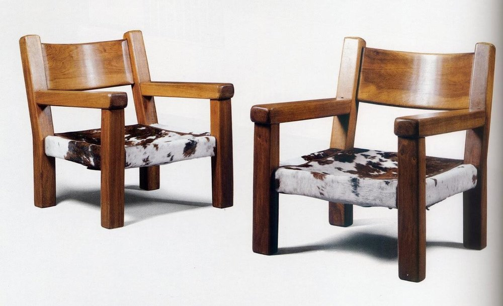 P 0048 Pair of Walnut & Cowhide Chairs
