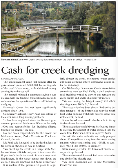 Frankston Times 23 May, 2013: page 4.
