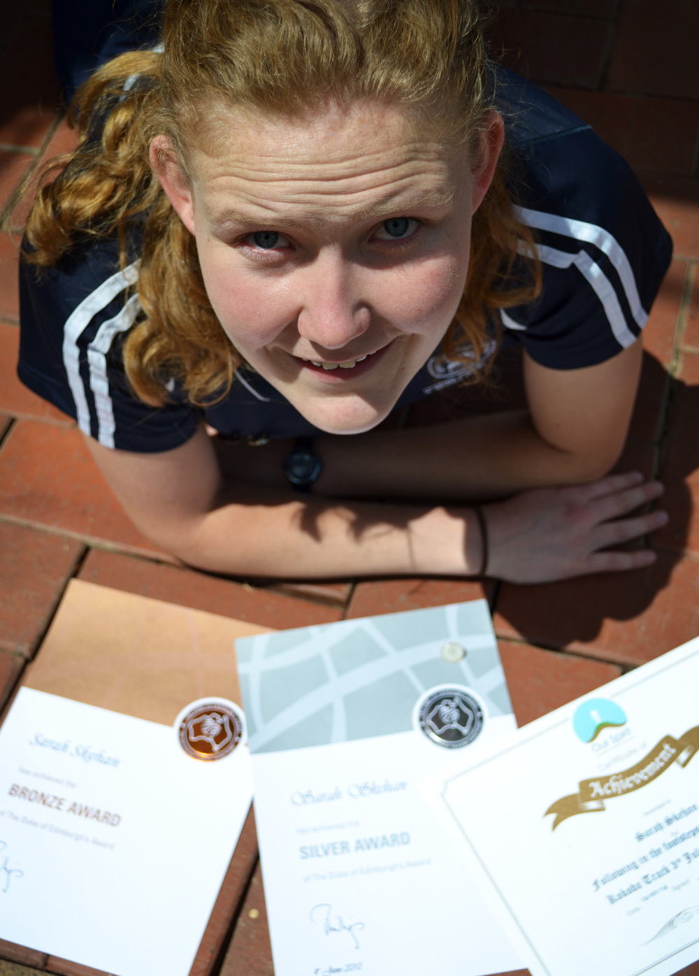 Golden achievement: Sarah Skehan with her Duke of Edinburgh awards. Picture: Toni Brient.