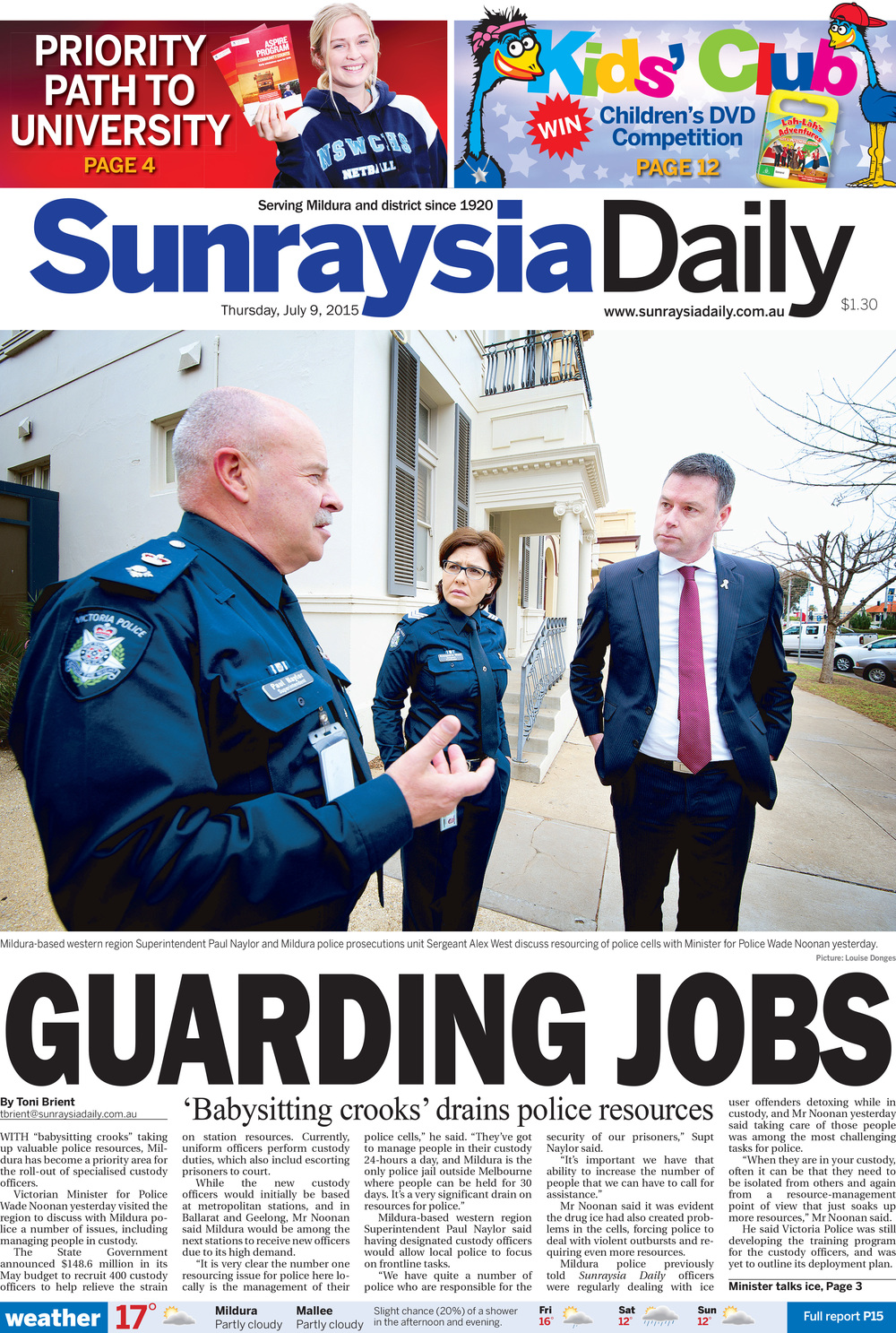 Guarding Jobs , Sunraysia Daily, July 9, 2015. Click below to read stories.