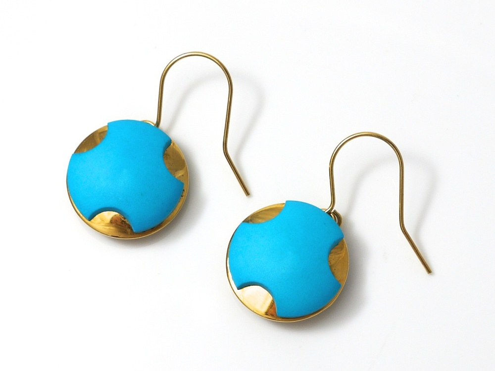 Blue and gold antique buttons