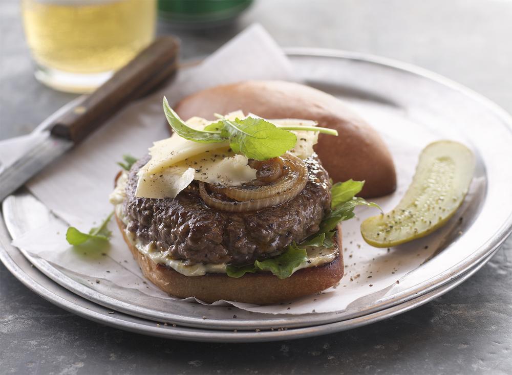 Gouda and Caramelized Onion Burger | Tony Kubat Photography
