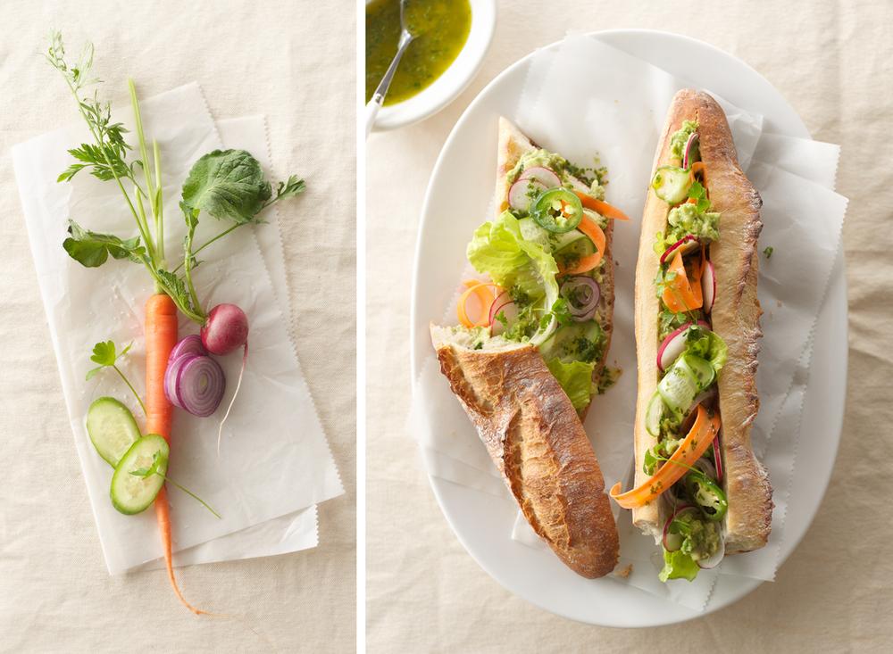 Vegetables And Baguette Sandwich | Tony Kubat Photography