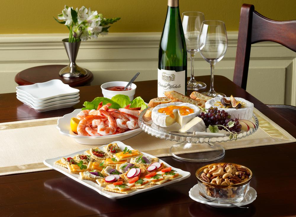 Cheese Crackers Shrimp Nuts Party Platters | Tony Kubat Photogra