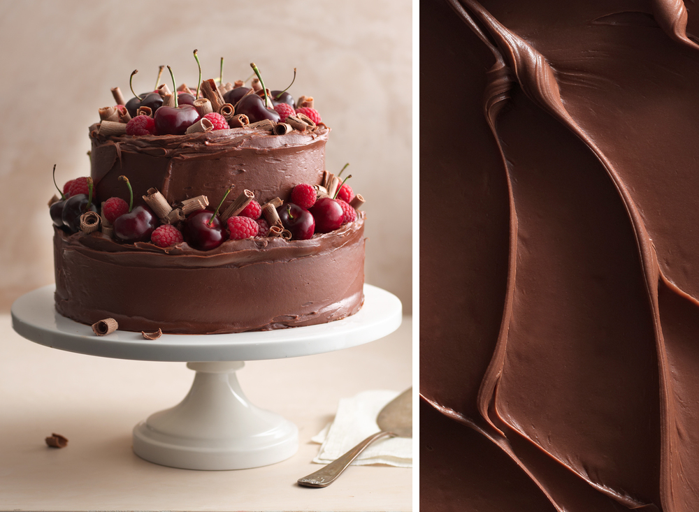 Raspberry Cherry Chocolate Cake | Tony Kubat Photography