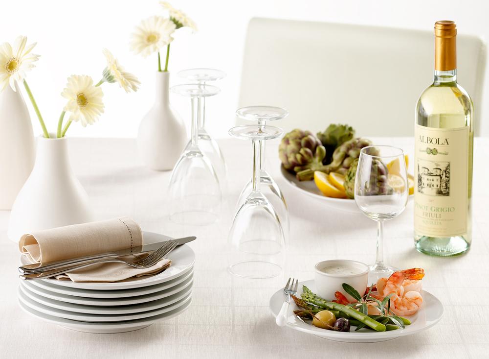 Shrimp Appetizer And Wine Setting | Tony Kubat Photography
