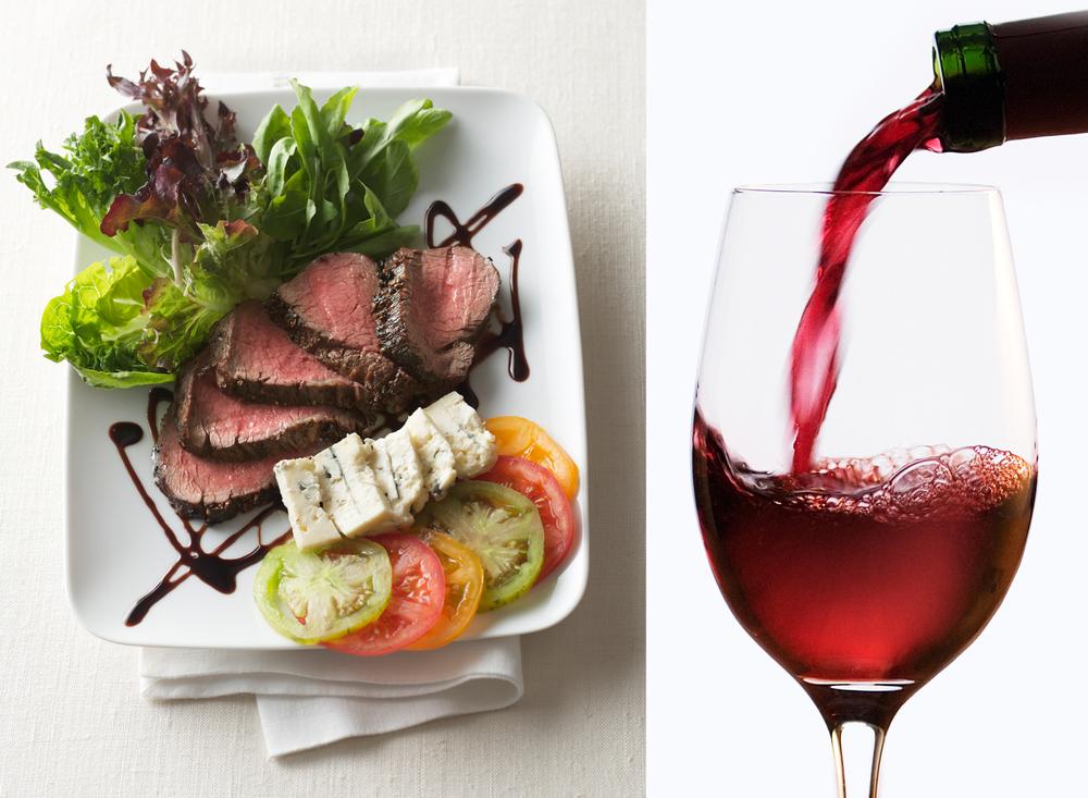 Peppercorn Steak Salad With Wine Pour | Tony Kubat Photography