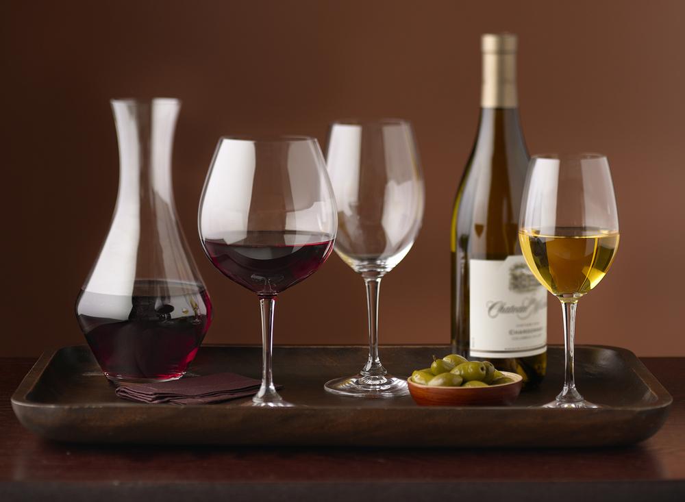 Wine On Serving Tray | Tony Kubat Photography