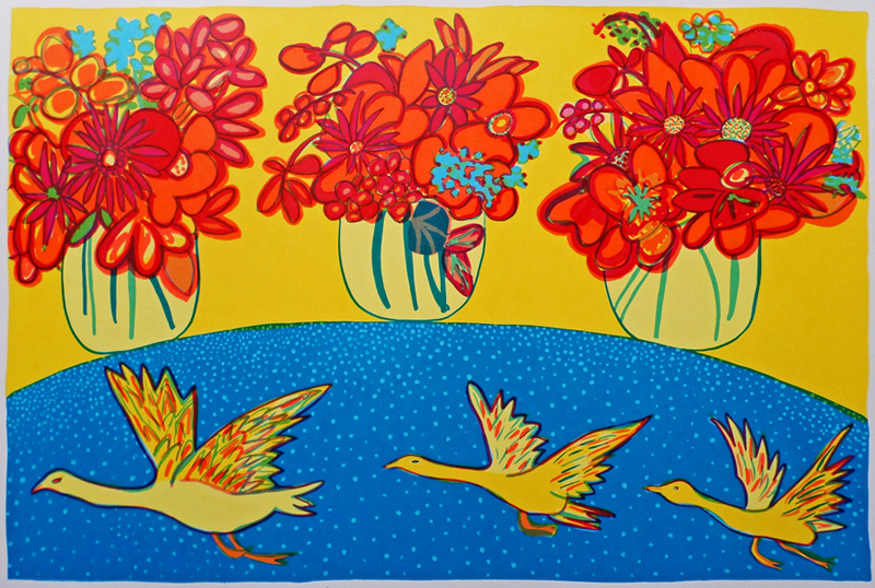 Bronwen Findlay    Ducks and Flowers   1995  screenprint  edition (to follow)  image 36 x 54 cm (h x w)  paper 50 x 70 cm (h x w)