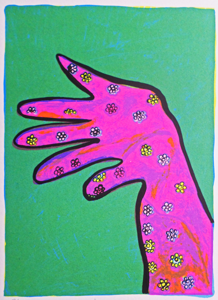 Bronwen Findlay    Glove   1997  screenprint  edition 30  image 30 x 20 cm (h x w)  paper 35 x 23 cm (h x w)