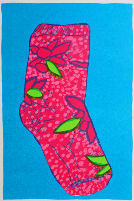 Bronwen Findlay    Untitled  (Sock)  1998  screenprint  edition 25  image 29 x 19 cm (h x w)  paper 35 x 23 cm (h x w)