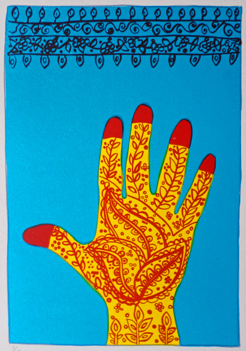 Bronwen Findlay    Untitled  (Hand with Henna)  1998  screenprint  edition 25  image 29 x 20 cm (h x w)  paper 35 x 23 cm (h x w)