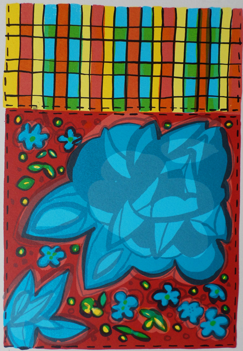 Bronwen Findlay    Untitled  (Blue Flowers with Tartan)  1998  screenprint  edition 25  image 29,5 x 19,5 cm (h x w)  paper 35 x 23 cm (h x w)
