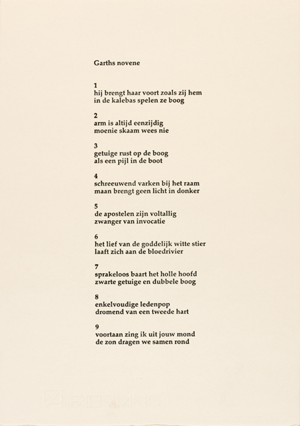 Garth Erasmus    Garth novene (poem)   2003  screenprint  edition   35  image   330 x 235 mm (h x w)  paper 330 x 235 mm (h x w)