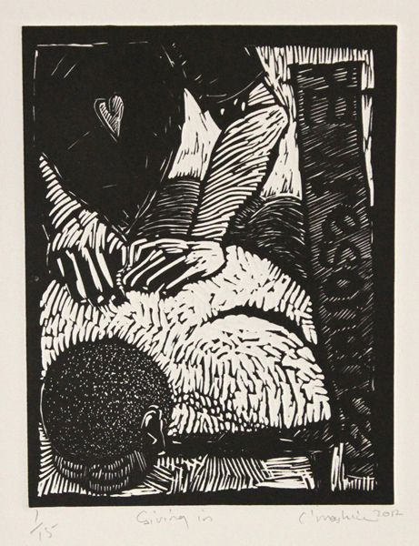 Colbert Mashile    Giving In   2012  linocut   edition size  15   image  210 x 165 mm (h x w)   paper  330 x 250 mm (h x w)