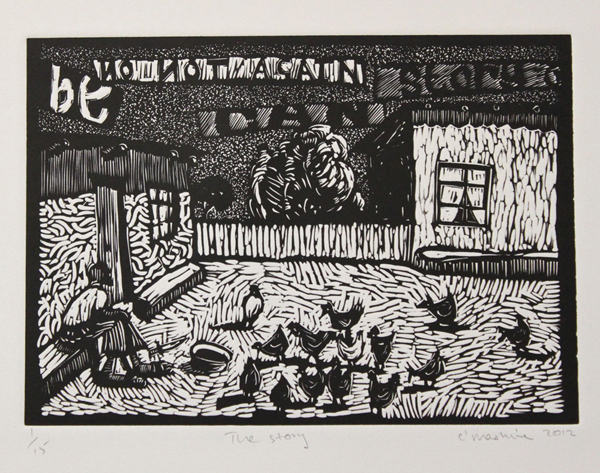 Colbert Mashile    The Story   2012  linocut   edition size  15   image  21 x 29 cm (h x w)   paper  35 x 48 cm (h x w)