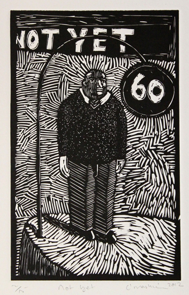 Colbert Mashile    Not Yet   2012  linocut   edition size  15   image  29 x 18 cm (h x w)   paper  48 x 31,5 cm (h x w)