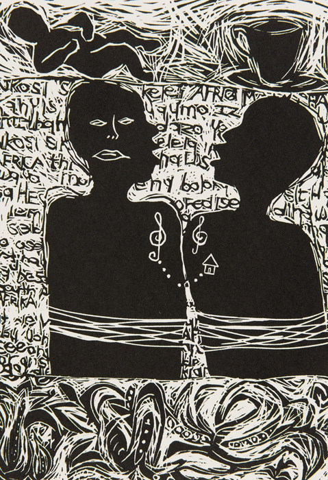 In 2007, Gabisile Nkosi was asked to produce a work in celebration of the bicentennial of the abolition of the laws of slavery in England. The first six linocuts on this page form the resulting  Healing  Portfolio.   Gabisile Nkosi    Culanami / Sing with me (Healing  Portfolio)  2007  linocut   edition  45   image  21 x 14,5 cm (h x w)   paper  45 x 33 cm (h x w)