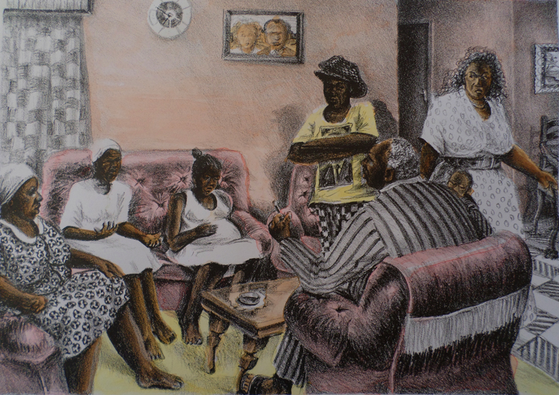 Sthembiso Sibisi      Morning Meeting     1994     hand-coloured lithograph