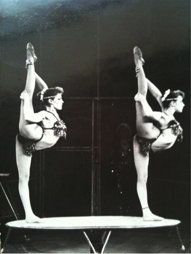 Irina and her sister performing in the circus.