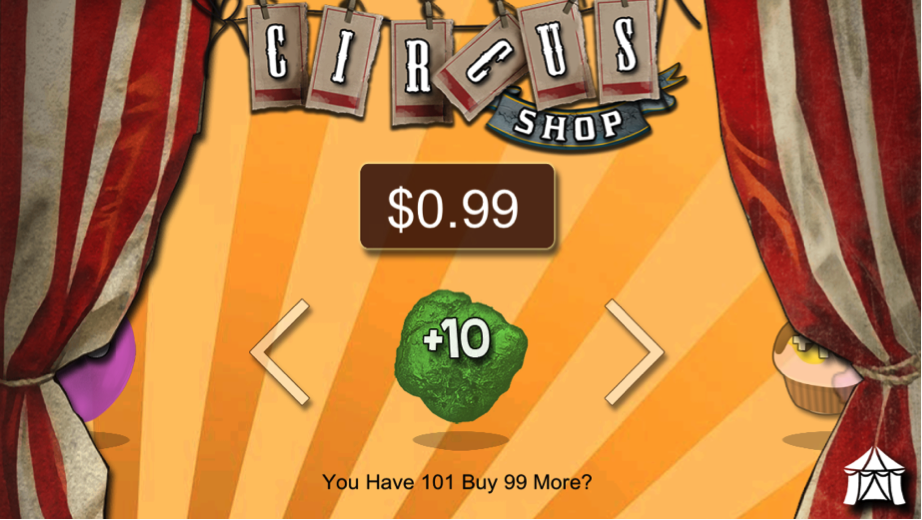 Circus Life In-game Shop.